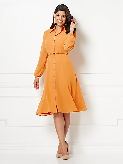 Eva Mendes Collection - Pia Orange Shirt Dress - New York & Company