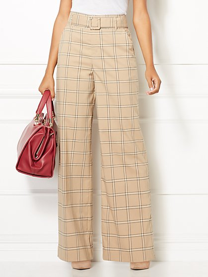 Eva Mendes Collection - Plaid Carine Palazzo Pant - New York & Company