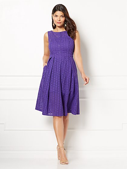 Eva Mendes Collection - Purple Hayley Fit and Flare Dress - New York & Company