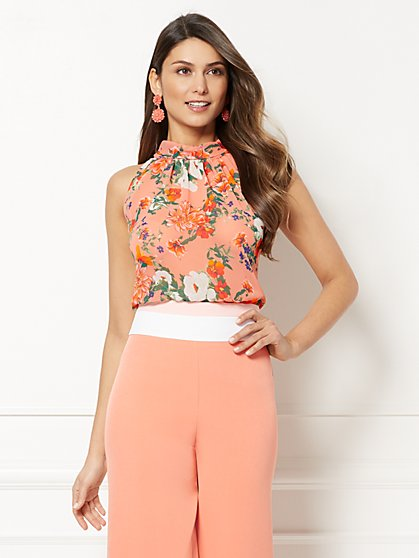 Eva Mendes Collection - Sabrina Floral Bow Blouse - New York & Company