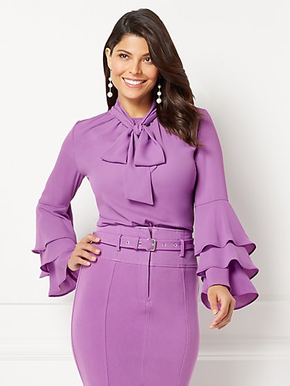 Eva Mendes Collection - Salena Flounced-Sleeve Blouse - New York & Company