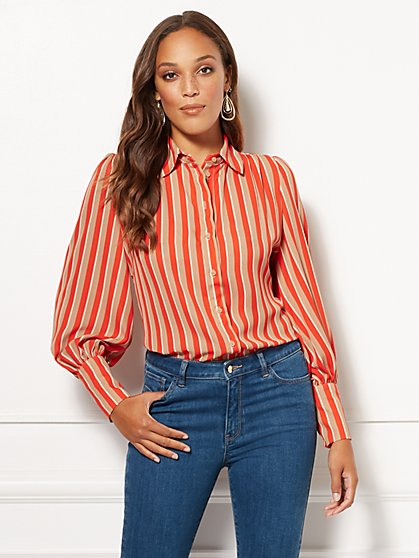 Eva Mendes Collection - Stripe Kelsey Blouse - New York & Company