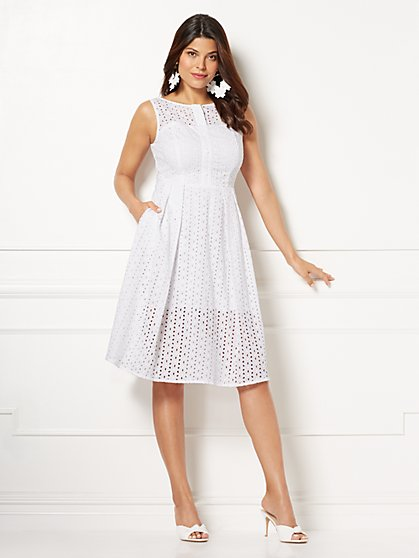 Eva Mendes Collection - White Hayley Fit and Flare Dress - New York & Company