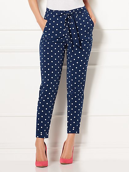 Eva Mendes Collection - Zoey Navy Dot-Print Pant - New York & Company
