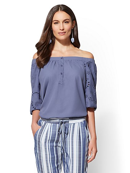 Eyelet Off-The-Shoulder Blouse - New York & Company