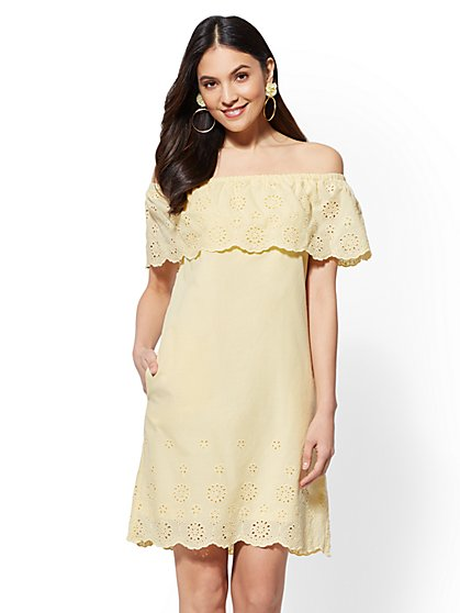 Eyelet-Trim Off-The-Shoulder Shift Dress - New York & Company
