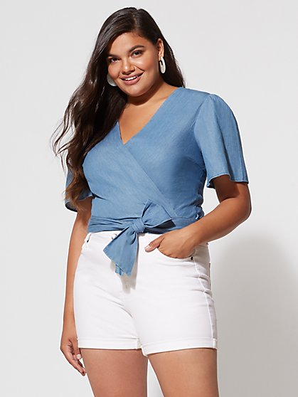 FTF Abigail Denim Wrap Top - New York & Company