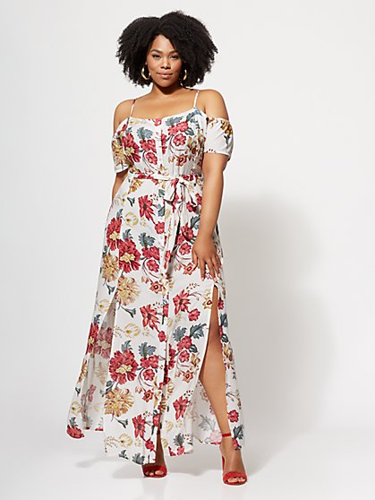 FTF Amber Button-Front Maxi Dress - New York & Company