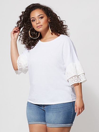 FTF Amy Eyelet Sleeve Tee - New York & Company