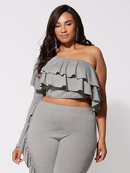 FTF Avery Ruffle Crop Top - New York & Company