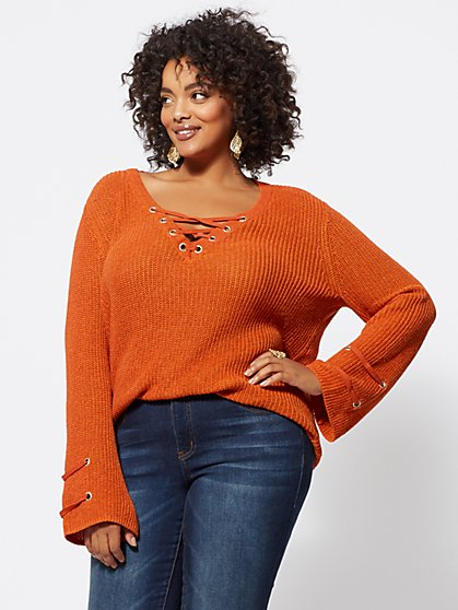 FTF Bethany Lace-Up Sweater - New York & Company