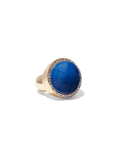 FTF Blue Rhinestone Statement Ring - New York & Company