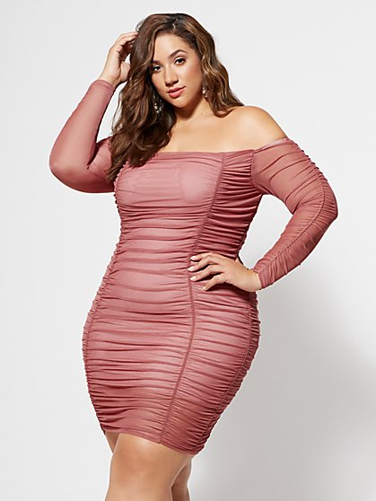 FTF Blush Mesh Bodycon Dress - New York & Company