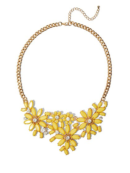 FTF Bold Daisy Rhinestone Necklace - New York & Company