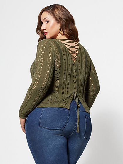 FTF Brittany Lace-Up Sweater - New York & Company