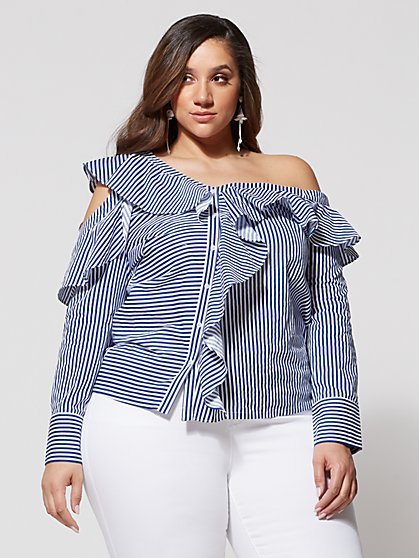 FTF Brynlee Asymmetrical Stripe Blouse - New York & Company