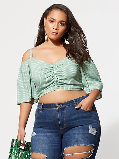 FTF Cami Ruched Crop Top - New York & Company
