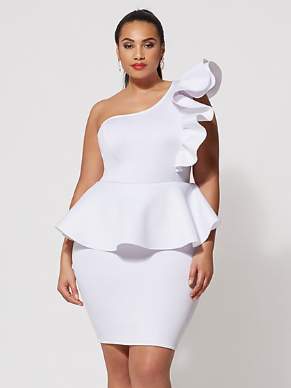 White Peplum Dress Plus Size - Fxund.us