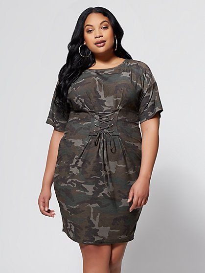 FTF Camo Corset Belt Dress - New York & Company