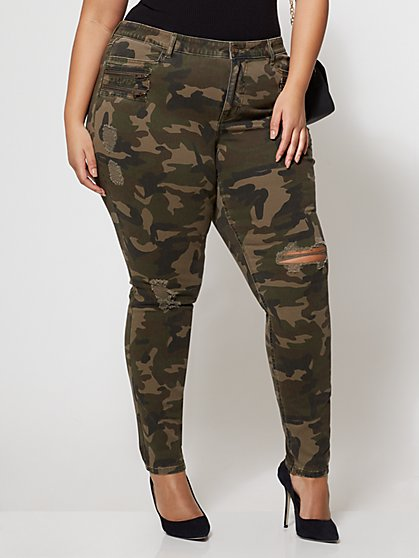 FTF Camo Destructed Skinny Jeans - New York & Company