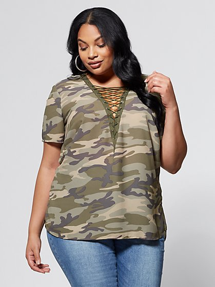 FTF Camo Lace-Up Top - New York & Company