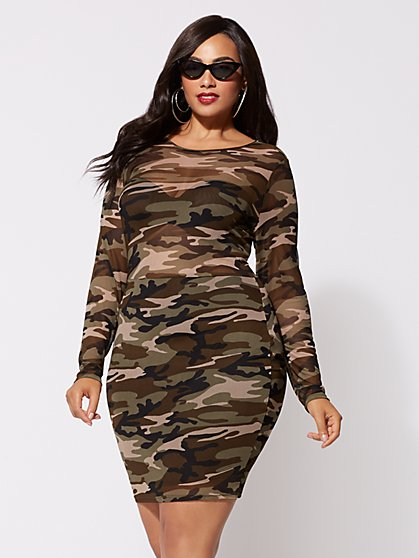 FTF Camo Mesh Bodycon Dress - New York & Company