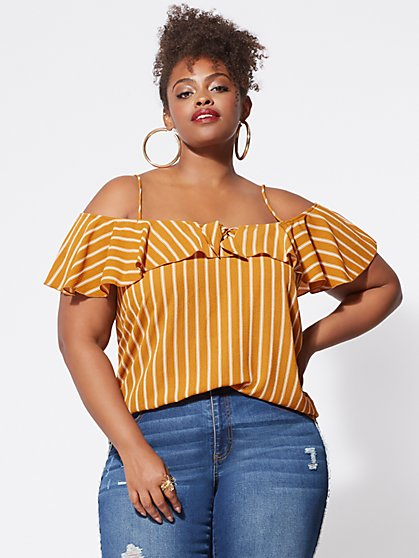 FTF Cassandra Cold-Shoulder Top - New York & Company