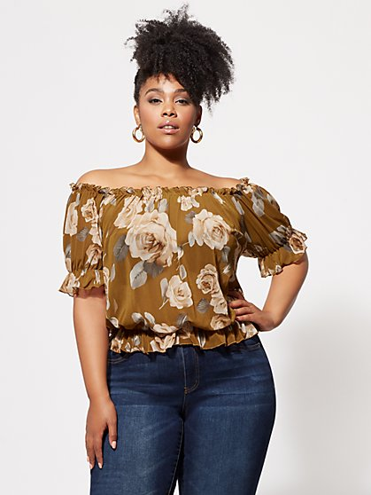 FTF Cressida Floral Mesh Top - New York & Company