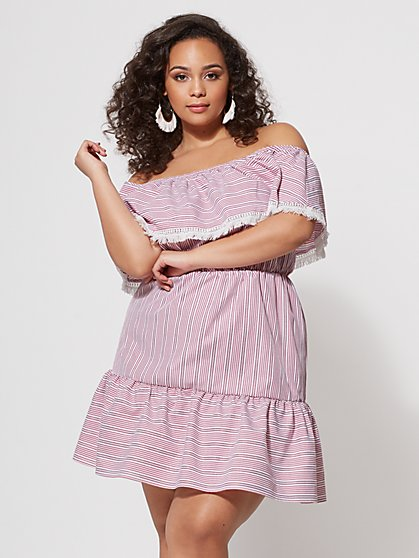 FTF Crista Off-Shoulder Stripe Dress - New York & Company