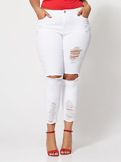 FTF DESTRUCTED WHITE SKINNY JEANS - New York & Company