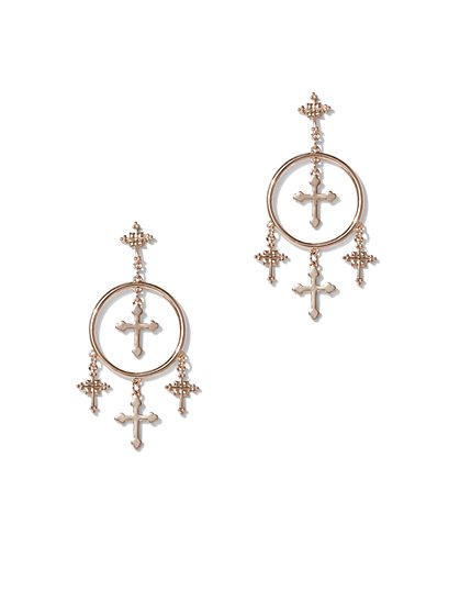 FTF Dangle Cross Hoop Earrings - New York & Company