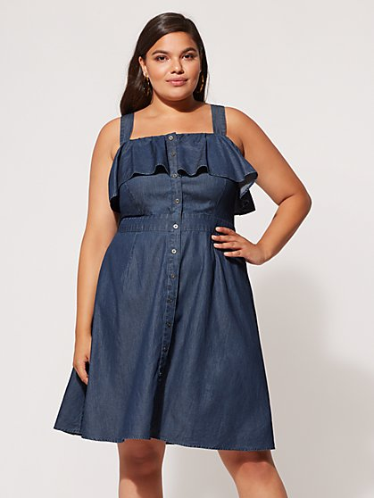 FTF Daniela Denim Flare Dress - New York & Company