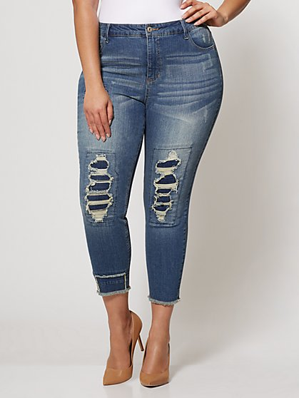 FTF Destructed High Rise Skinny - New York & Company