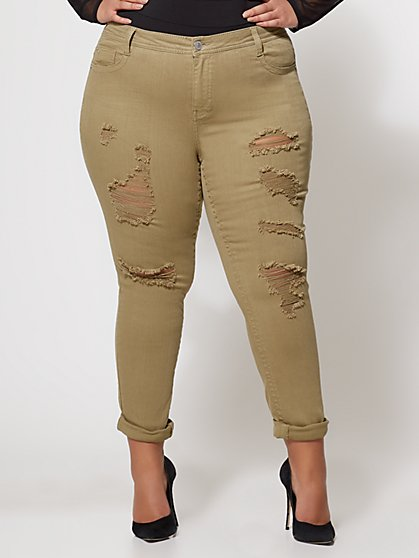 FTF Destructed Olive Skinny Jeans - New York & Company