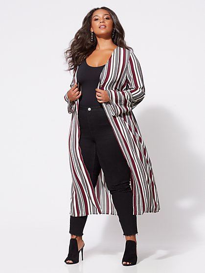 FTF Devorah Striped Duster - New York & Company