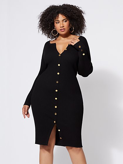 FTF Devyn Button-Down Sweater Dress - New York & Company