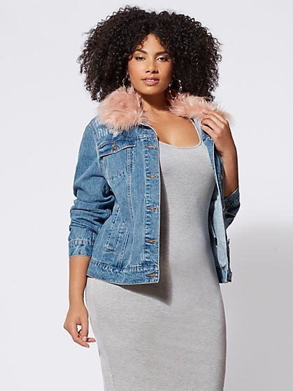 FTF Faux-Fur Accented Trucker Jacket - New York & Company