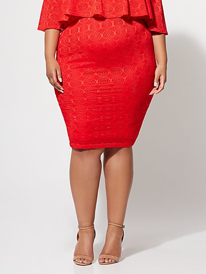 FTF Fiorella Eyelet Pencil Skirt - New York & Company