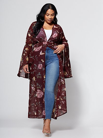 FTF Floral Bell Sleeve Duster - New York & Company