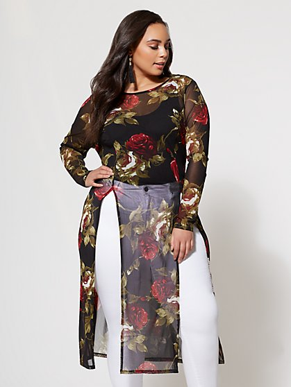 FTF Floral Mesh Tunic - New York & Company