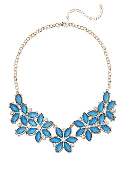 FTF Floral Rhinestone Necklace - New York & Company