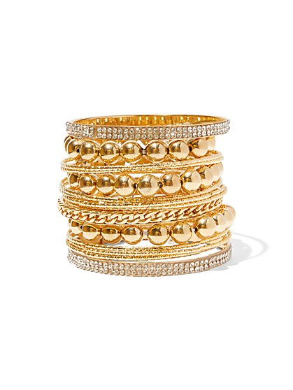 FTF Gold Bead & Bangle Bracelet Set - New York & Company