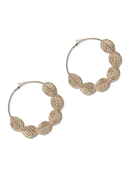 FTF Gold Feather Hoop Earrings - New York & Company