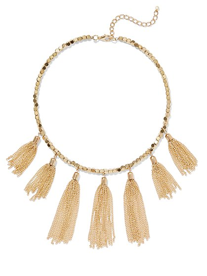 FTF Gold Tassel Necklace - New York & Company