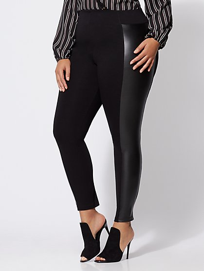 FTF Good Form Faux-Leather Ponte Pants - New York & Company