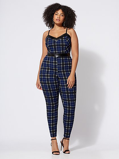 FTF Johnnie Plaid Jumpsuit - New York & Company