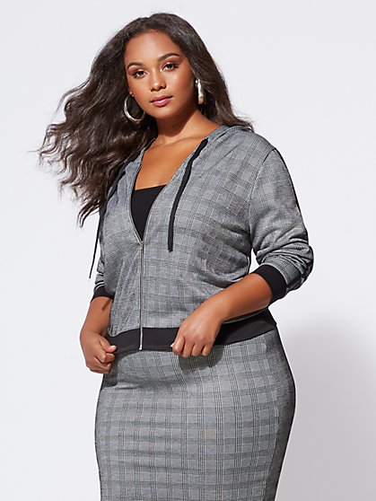 FTF Josie Plaid Hooded Jacket - New York & Company