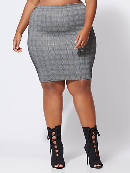 FTF Josie Plaid Pencil Skirt - New York & Company