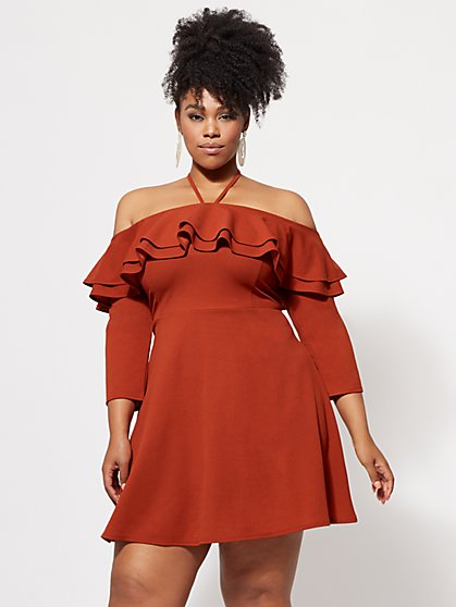 FTF Kendall Off-Shoulder Ruffle Dress - New York & Company