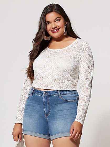 FTF Lana Lace Crop Top - New York & Company